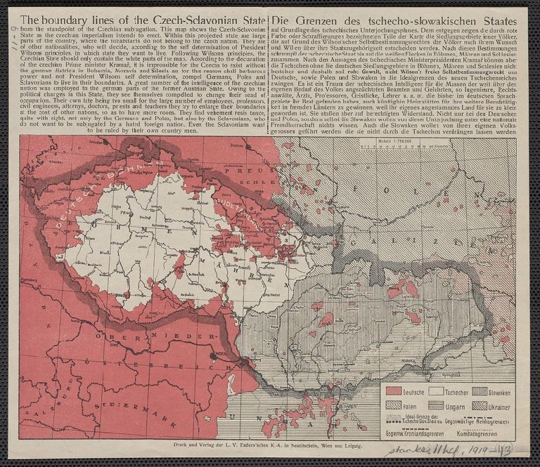 The boundary lines of the Czech-Sclavonian state = Die Grenzen des tschecho-slowakischen Staates.