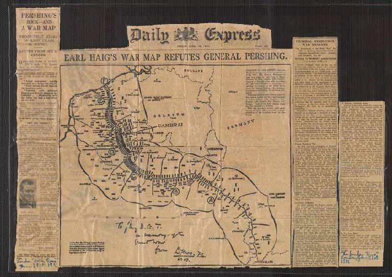 Earl Haig's war map refutes General Pershing.