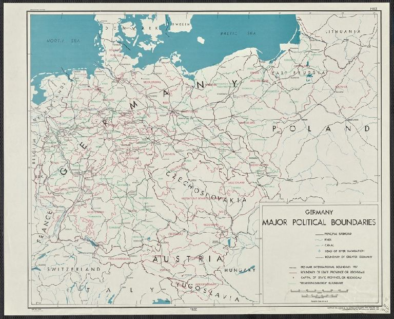 Germany, major political boundaries / compiled and drawn in the Branch of Research and Analysis, OSS.