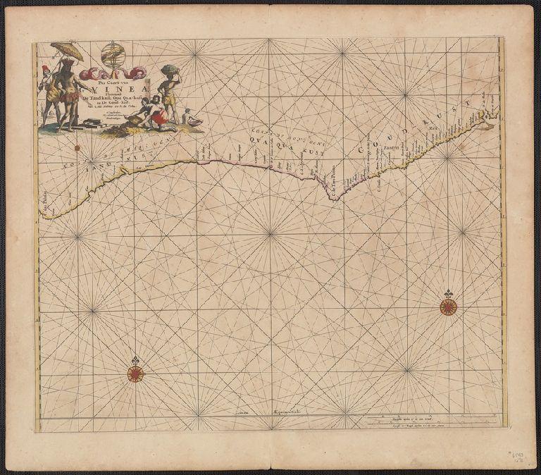 Pas-caert van Guinea vertoonende de Tand-kust, Qua Qua-kust en de Goud-kust : van C. das Palmas tot R. da Volta.