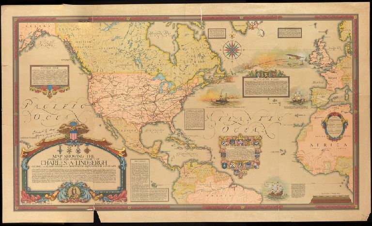 Map showing the overland and overseas flights of Charles A. Lindbergh ... / designed by Ernest Clegg.